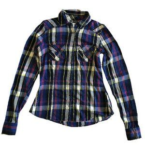 Garage Blue Plaid Flannel Button Up Shirt Size S